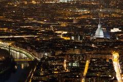 Vista di Antonelliana della talpa alla notte fotografia stock