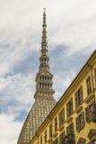 Vista di Antonelliana della talpa da una via a Torino Piemonte, Italia immagini stock libere da diritti