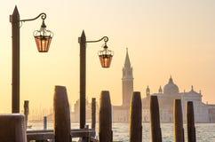 Vista di architettura veneziana durante il tramonto Fotografia Stock Libera da Diritti