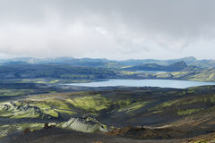 Vista di area di Lakagigar con i giacimenti di lava, i crateri di eruzione e la La Immagini Stock