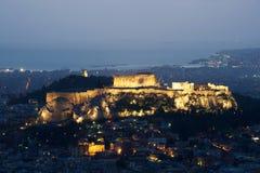 Vista di Atene e dell'acropoli da sopra Fotografia Stock Libera da Diritti