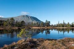 Vista di autunno della montagna nel lago fotografia stock libera da diritti