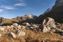 Vista di autunno su Rysy nell'alto Tatras Fotografie Stock