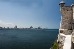 Vista di Avana da Castillo De Los Tres Reyes Del Morro Fotografia Stock Libera da Diritti