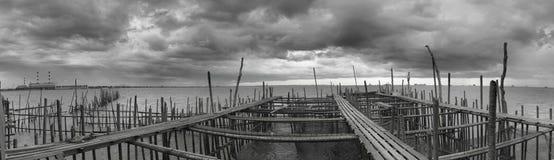 Vista di B/W Panaromic da Kelong con la tempesta Fotografie Stock Libere da Diritti