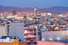 Vista di Barcellona da Montjuic, Spagna. Fotografia Stock Libera da Diritti