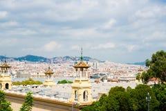 Vista di Barcellona dal palazzo nazionale Fotografia Stock