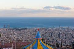 Vista di Barcellona dal parco Guell fotografia stock libera da diritti