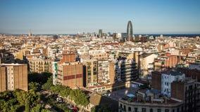Vista di Barcellona dalla torre di familia di Sagrada Fotografie Stock Libere da Diritti