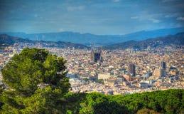 Vista di Barcellona e di Sagrada Familia La Catalogna, Spagna Fotografia Stock