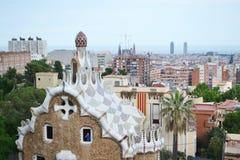 Vista di Barcellona, nel parco Guell della priorità alta Fotografia Stock Libera da Diritti