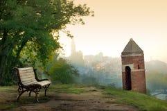 Vista di Belgrado dalla fortezza di Kalemegdan fotografia stock