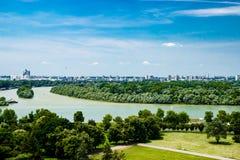 Vista di Belgrado Serbia dal vecchio castello Fotografia Stock