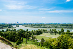 Vista di Belgrado Serbia dal vecchio castello Immagini Stock Libere da Diritti