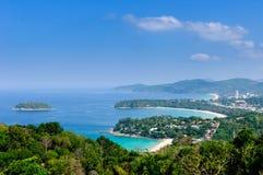 Vista di bello paesaggio e tropicale superiori Vista sul mare, vista del mare Fotografia Stock