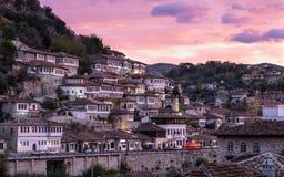 Vista di Berat Albania fotografia stock libera da diritti
