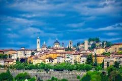 vista di Bergamo alta con le pareti veneziane Fotografia Stock Libera da Diritti