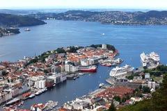 Vista di Bergen Fotografie Stock Libere da Diritti