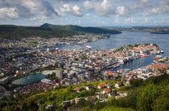 Vista di Bergen dal punto di vista Fotografie Stock