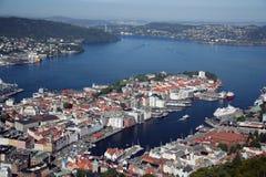 Vista di Bergen, Norvegia Immagine Stock Libera da Diritti
