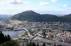 Vista di Bergen in Norvegia Fotografie Stock Libere da Diritti