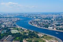 Vista di Birdseye del fiume di Neva Fotografie Stock
