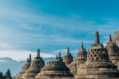 Vista di Borobudur Stupa da vicino fotografia stock libera da diritti