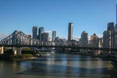 Vista di Brisbane e del ponte di storia Immagine Stock Libera da Diritti
