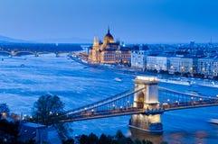 Vista di Budapest con i punti di riferimento Immagini Stock Libere da Diritti