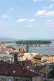Vista di Budapest con il Danubio Fotografia Stock