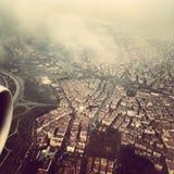 Vista di Budapest sulla mosca Immagini Stock