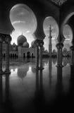 Vista di BW alla moschea, Abu Dhabi, Emirati Arabi Uniti Immagine Stock Libera da Diritti