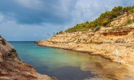 Vista di Cala Greca, Lampedusa fotografia stock