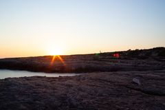 Vista di Cala Grega, Lampedusa immagini stock libere da diritti
