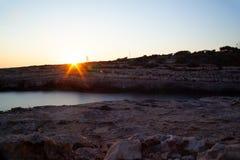 Vista di Cala Grega, Lampedusa fotografia stock