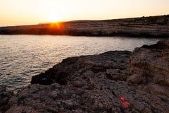 Vista di Cala Grega, Lampedusa fotografia stock libera da diritti