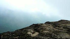 Vista di camminata sulla scogliera della roccia alla cima della montagna dopo pioggia Bello ecosistema forestale tropicale ed amb video d archivio