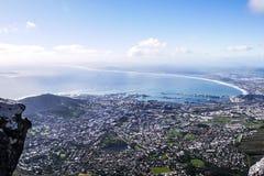Vista di Cape Town dalla montagna della Tabella Fotografia Stock Libera da Diritti