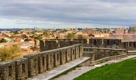 Vista di Carcassonne dalla fortezza - Francia Immagini Stock