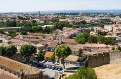 Vista di Carcassonne dalla fortezza - Languedoc, Francia Fotografia Stock