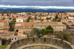 Vista di Carcassonne dalla fortezza, Languedoc, Francia Fotografia Stock Libera da Diritti