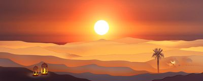 Vista di carta di arte del paesaggio arabo di tramonto del deserto con la lanterna, cammello, palma da datteri royalty illustrazione gratis