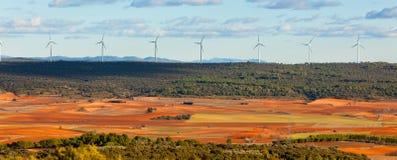 Vista di Castiglia-La Mancha, Spagna all'inverno Fotografia Stock Libera da Diritti