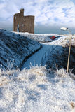 Vista di Christmasy del castello di ballybunion Immagine Stock