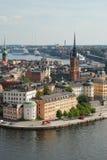 Vista di Città Vecchia di Stoccolma, Svezia Immagini Stock Libere da Diritti