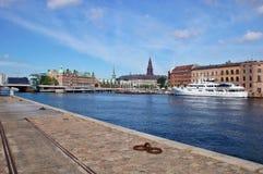 Vista di Copenhaghen con Havnepromenade Fotografia Stock