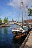 Vista di Copenhaghen con il sailship Immagini Stock Libere da Diritti