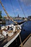 Vista di Copenhaghen con il sailship storico Immagini Stock Libere da Diritti