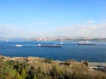 Vista di Costantinopoli dal palazzo di Topkapi fotografia stock libera da diritti