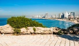 Vista della linea costiera di Tel Aviv Fotografie Stock Libere da Diritti